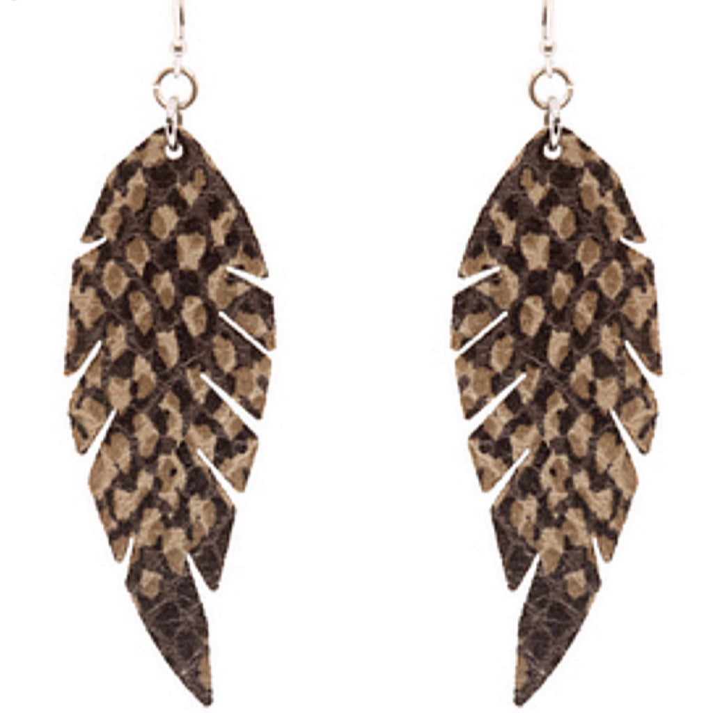 Snake Print leathered lightweight earrings Tan