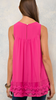 Hot Pink Solid scoop neck top featuring crochet detail at bust and hem