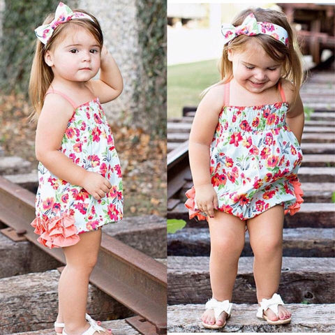 Painted Flowers Rouched Bubble Romper