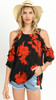 Red Black Floral Top Ruffled Cold Shoulder
