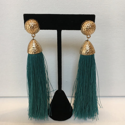 Teal Hammered Gold Tassel Earrings