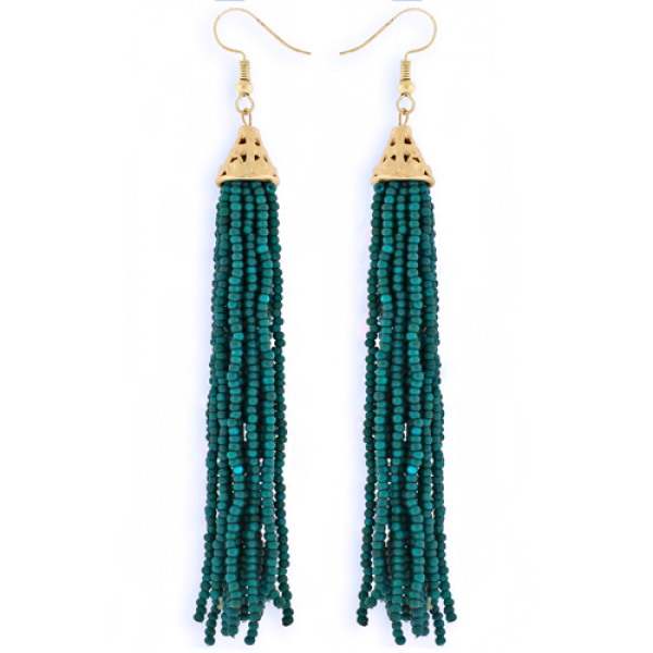 Teal Tassel Earrings w/gold trim