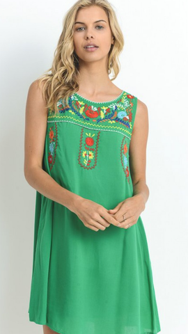 Kelly Green Embroidered Dress w/Pockets