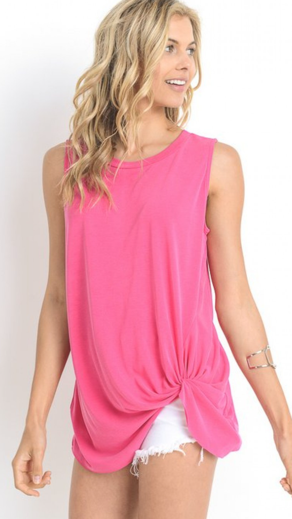Fuchsia Modal Top w/twisted Detail in Bottom