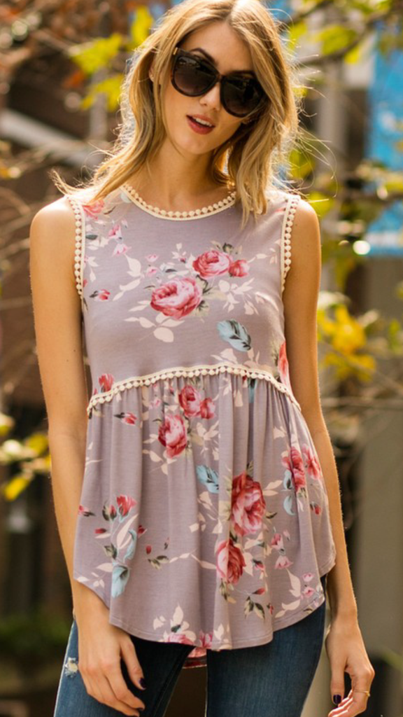 Mocha Floral Sleeveless Top