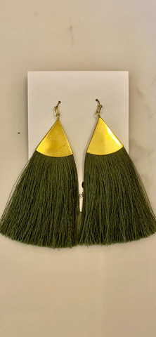 Olive Green Tassel Earrings w/Gold