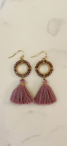 Mauve Crystal w/Gold trim Tassel Earrings