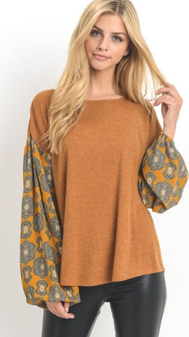 Toffee Boxy Top w/print Bubble Sleeves