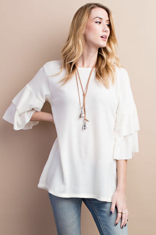 Cream Ruffle Sleeve Top