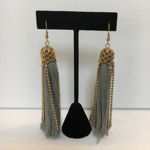 Grey Tassel w/Gold Bead Earrings