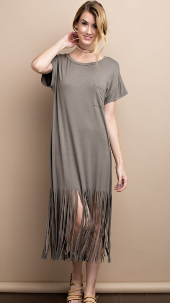 Tunic Dress w/Fringe Detail Olive