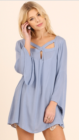 Powder Blue A Line Tunic w/Bell Sleeves