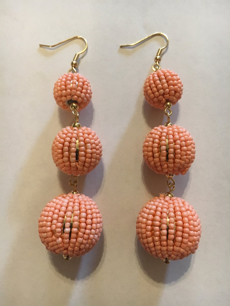 Peach Three Ball Earrings