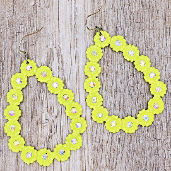 Treasure teardrop floral crystal neon yellow