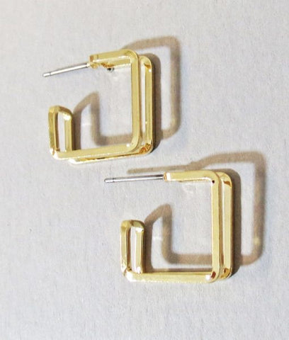 Gold Hollow Out Square Hoop Earrings