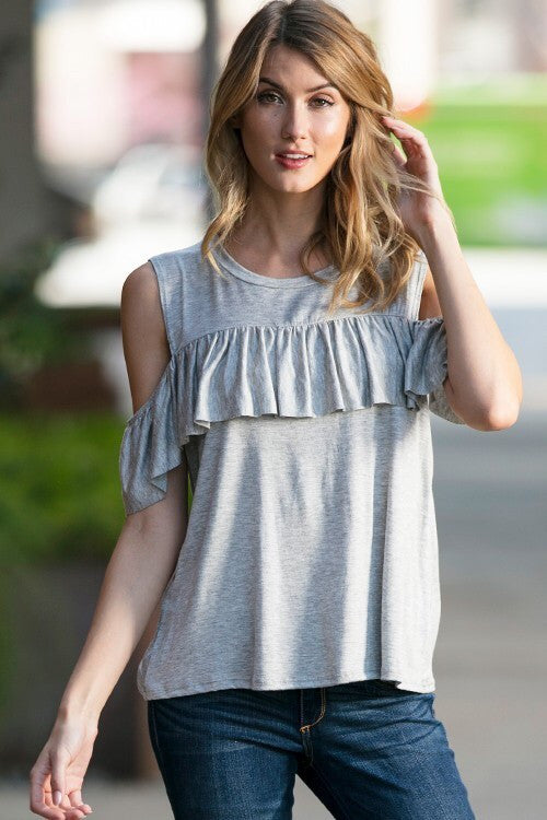 Grey Cold Shoulder Top