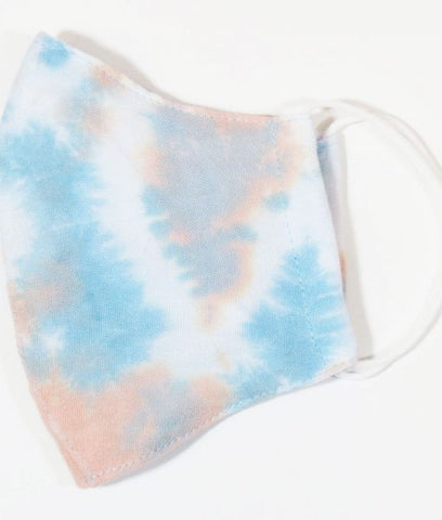 Coral Blue Tie Dye Face Mask