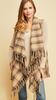 Taupe Plaid sleeveless draped vest featuring tassels at trim