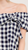 Navy Plaid off-shoulder top featuring a knot detail at bust