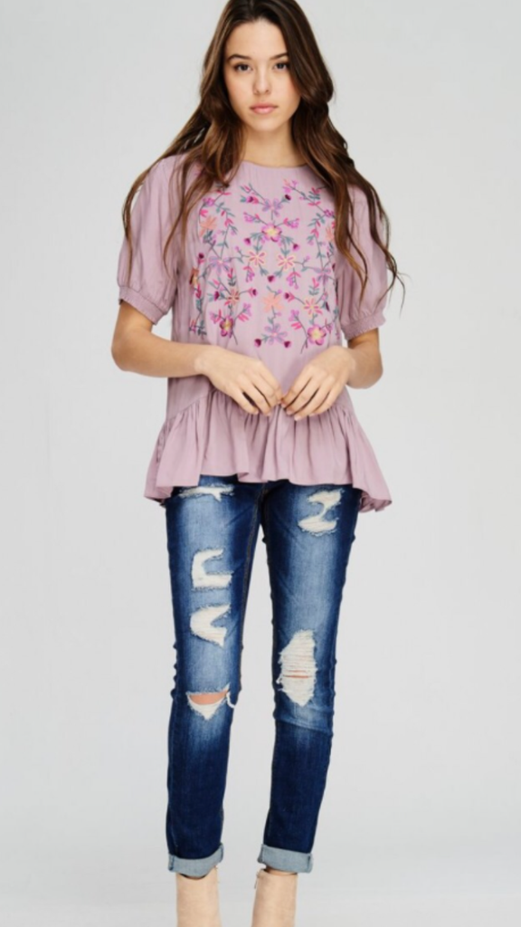 Mauve Embroidery Top