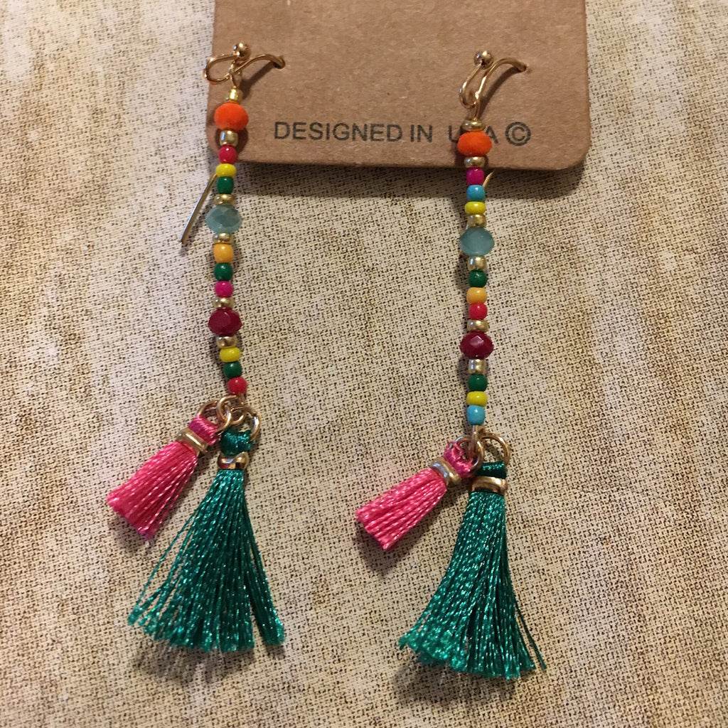 Multi Color Tassel Earrings