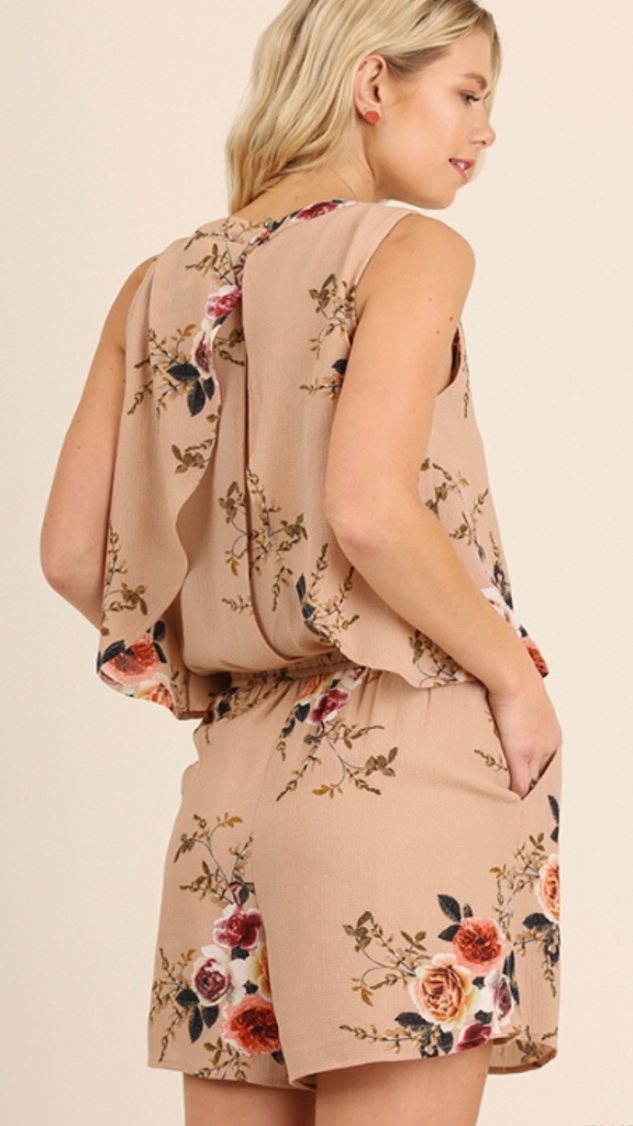 Romper w/Open Back Details Taupe Mix