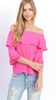 Hot Pink off the Shoulder Top w/Lace Trim