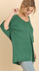 Mineral Washed Boat Neck Green w/Gathered Dolman Sleeves