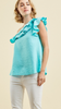 Solid crinkled one-shoulder top featuring ruffle neckline detail Aquam