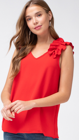 Sassy Red Ruffle Sleeve Top