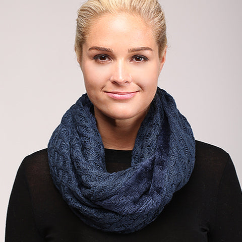 Infinity Cable Knit Scarf Blue