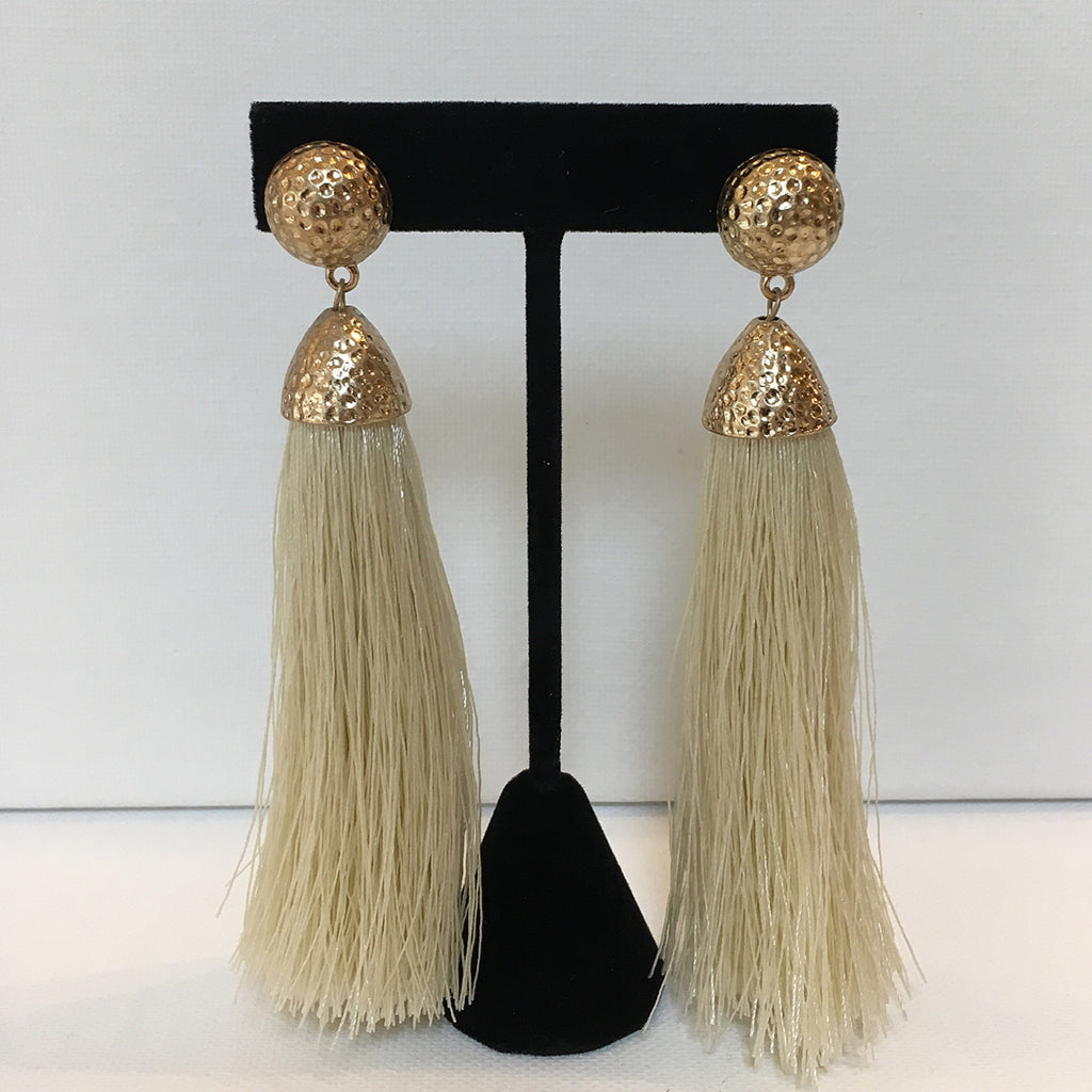 Ivory Hammered Gold Tassel Earrings