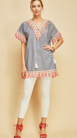Navy Striped tunic top featuring lace-up closure at neckline