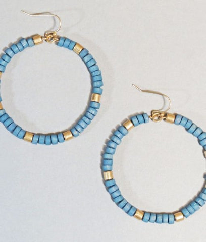 Steel Blue Wood Beaded Hoop Earrings