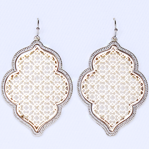 Moroccan Earrings Soft Gold Center w/silver Trim