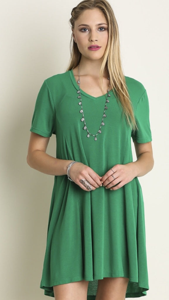 V-neck Tee Dress Emerald