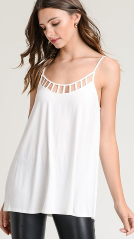 Solid Off White Top Adjustable straps with cage detail neckline