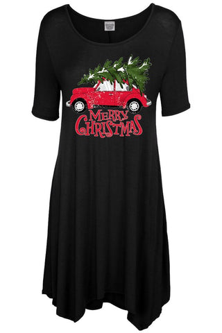 Christmas Tree w/car Dress Black
