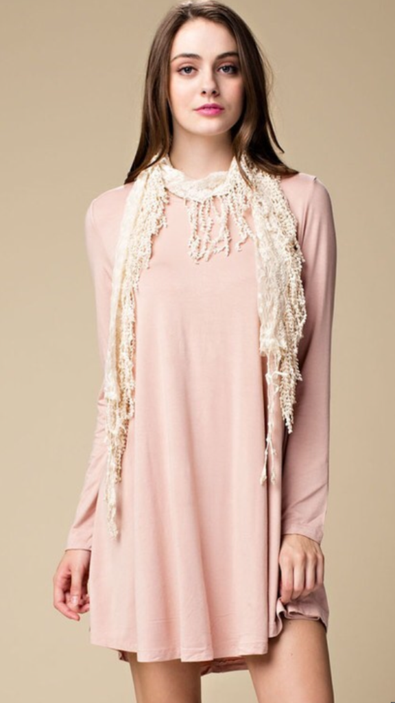 Long Sleeved Swing Dress Blush
