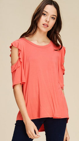 Coral Top with Ruffle Edge Cold Shoulder