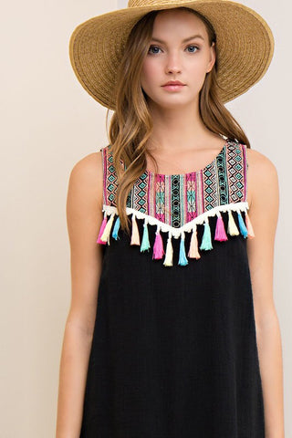 Tassel Colorful Black Dress