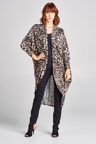 Leopard Front Brushed Front Cardigan