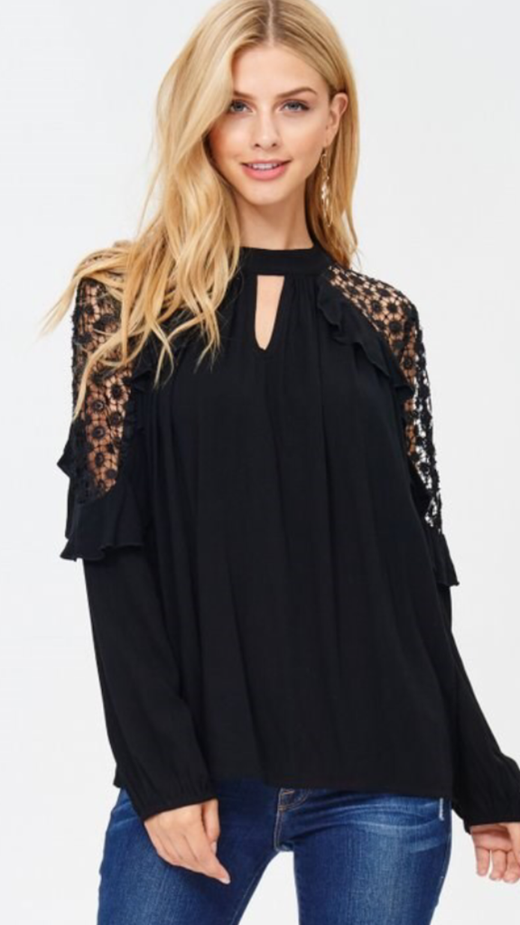 Solid Top Ruffled Crochet Cold Shoulder Black