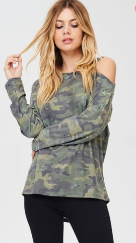 Camo One Cold Shoulder Top