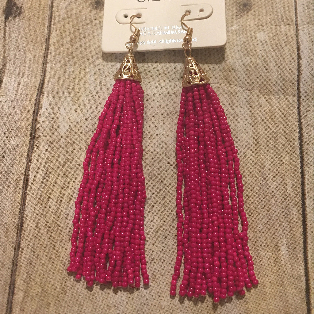 Hot Pink Tassel Earrings w/Gold Trim