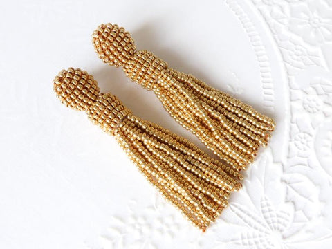 Gold Tassel Beaded Earrings
