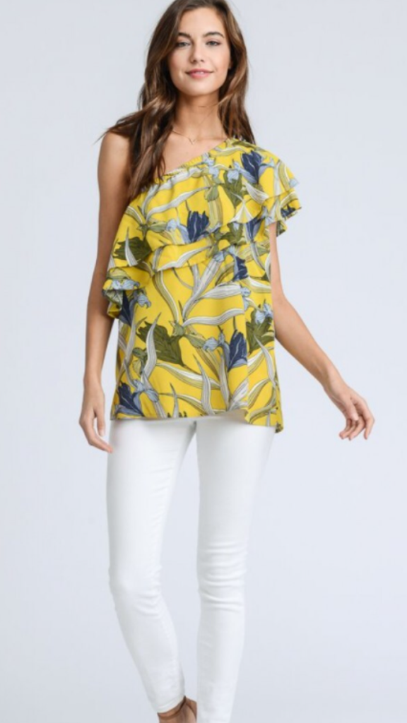 Off The Shoulder Yellow Blue Top