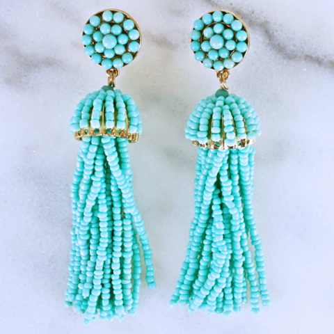 Mint Tassel Earrings w/gold Trim