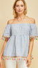 Blue Pinstripe off-shoulder top featuring tassel details at sleeve and hem