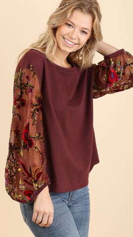 Floral Embroidered Long Sleeve Top Burgundy